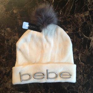 Bebe Off White Knit Beanie w/ Gray Pom